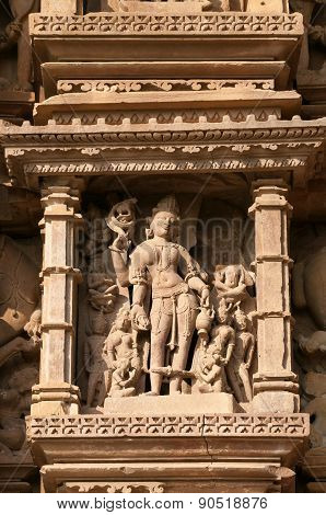 Stone Carved Erotic Sculptures On Vamana Temple. Khajuraho
