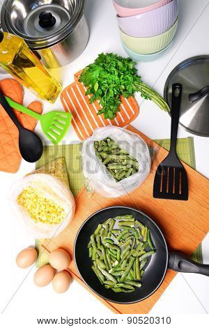 Ingredients for cooking on kitchen table close up