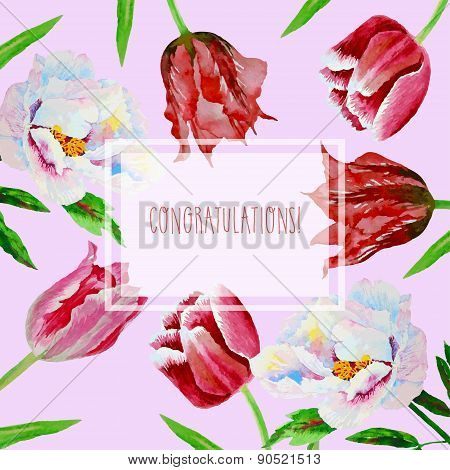 Card with tulips and peonies