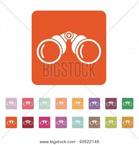 The Binoculars Icon. Search Symbol. Flat