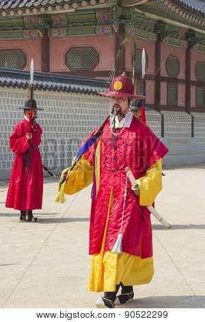 Korean Soldier Costume Vintage Practice Around Gyeongbokgung Palace