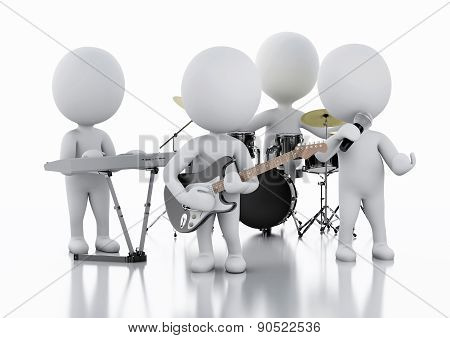 3d white people. Music group on white background