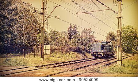 Retro Toned Picture Of A Locomotive.