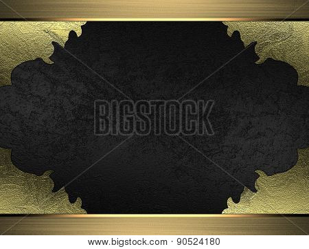 Black Velvet Texture With Torn Edges And Gold Frame. Design Template. Design Site