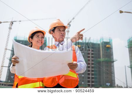 Inspecting Construction Site