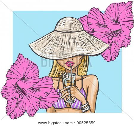 Summer girl in hat drinks a cocktail. Stylish summer card with a beautiful girl and flowers.