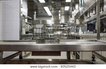 Professional Kitchen , View Counter In Steel . Bokeh .