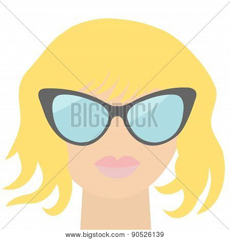 Fashion Blond Woman Face With Sexy Rose Lips, Sunglasses, Long Neck Flat Design