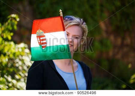 Blonde Woman With Hungarian Flag Outdoor
