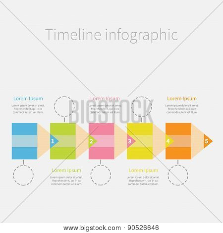 Timeline Infographic With Colorful Pencil Ribbon Dash Line Circles And Text. Five Step Template. Fla