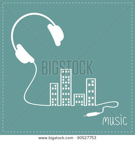 Headphones And Cord In Shape Of Equalizer Building House With Swith On Light Windows Music Backgroun