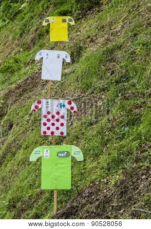 Decorations Of Distinctive Jerseys Of Le Tour De France 2014