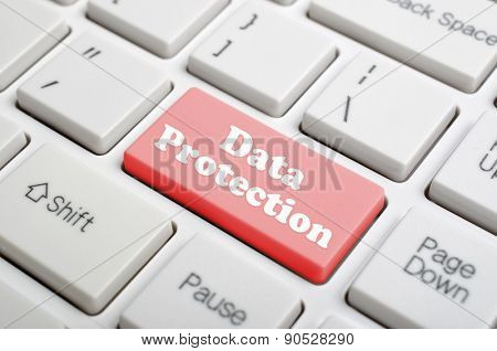 Red data protection key on keyboard
