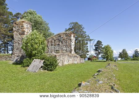 Ruins, stone walls of a church from 1178 A.D.