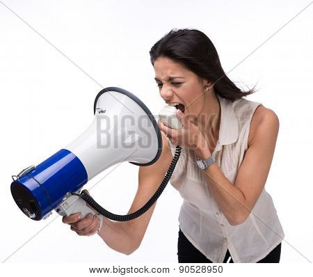 Businesswoman screaming at herself with megaphone isolated on a white background