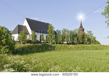 Froso Church in bright evening lit.