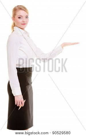 Portrait Businesswoman Showing Copy Space On Empty Hand. Ad.