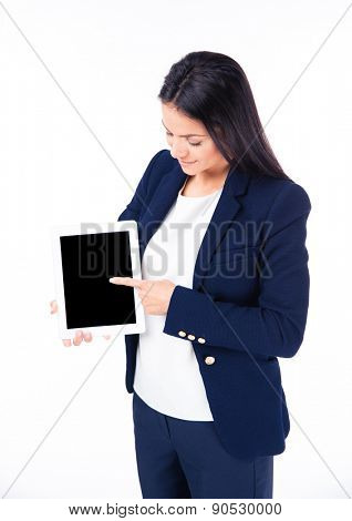 Businesswoman pointing finger on tablet computer screen isolated on a white background