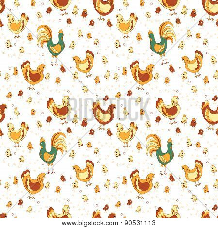 rooster hen and chicks seamless pattern.