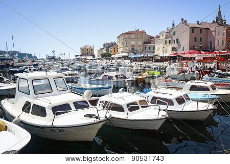 Moored Boats In Rovinj