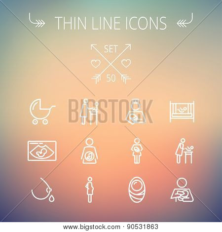 Medicine thin line icon set for web and mobile. Set includes- breastmik, breastfeed. crib icons. Modern minimalistic flat design. Vector white icon on gradient mesh background.