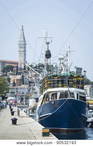 Ships At Dock Of Rovinj