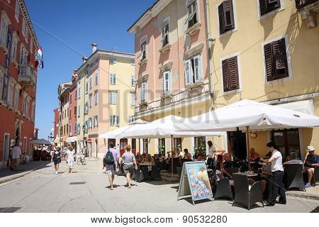 Tourists On Street In Rovinj