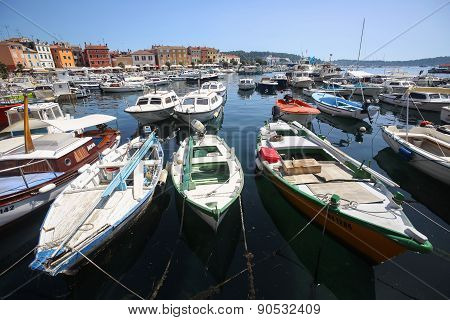 Anchored Boats In Rovinj
