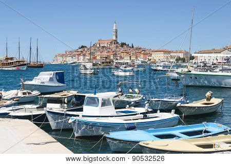 Boats In Marina And Town Of Rovinj