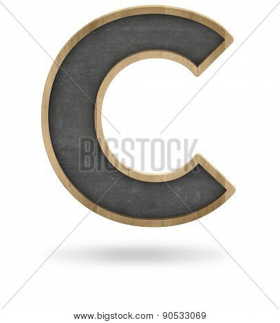 Black blank letter C shape blackboard