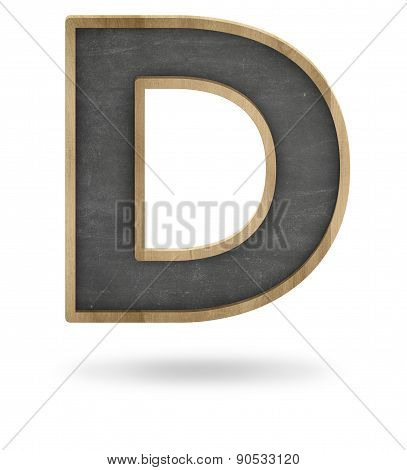Black blank letter D shape blackboard