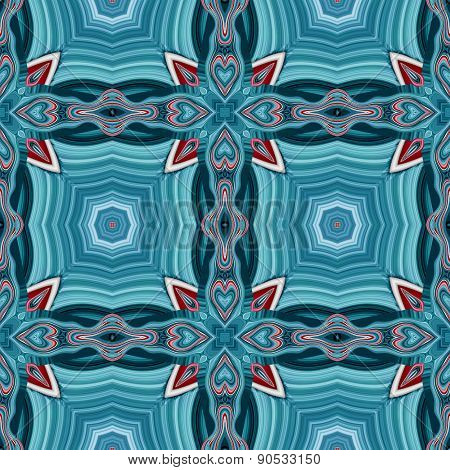 Seamless Kaleidoscopic Pattern In Blue And Red 2