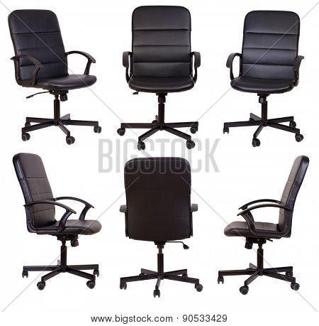 Black office chair isolated on white background