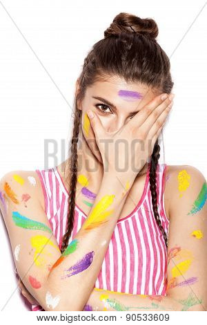 Young Cheerful Soiled In Paint Girl Having Fun
