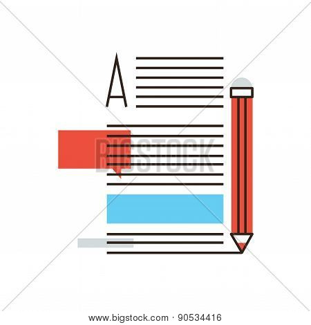 Writing Articles Flat Line Icon Concept