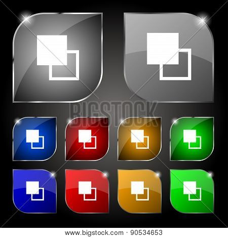 Active Color Toolbar Icon Sign. Set Of Ten Colorful Buttons With Glare. Vector