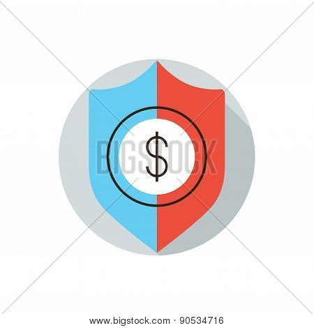 Financial Security Flat Line Icon Concept