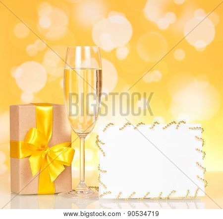 Champagne glass and empty card