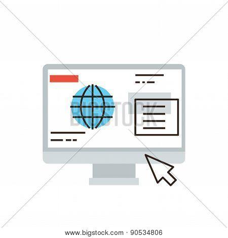 Internet Business Flat Line Icon Concept