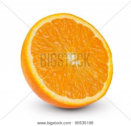 Fresh orange fruits slice rich with vitamins sliced isolated on white background