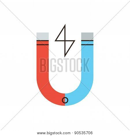 Magnetic Energy Flat Line Icon Concept