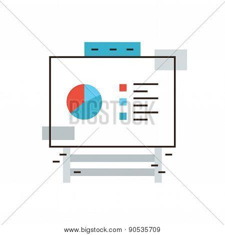 Flipchart Statistics Flat Line Icon Concept