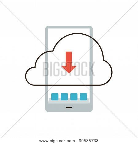 Mobile Cloud Flat Line Icon Concept