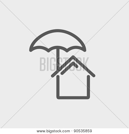 House insurance icon thin line for web and mobile, modern minimalistic flat design. Vector dark grey icon on light grey background.