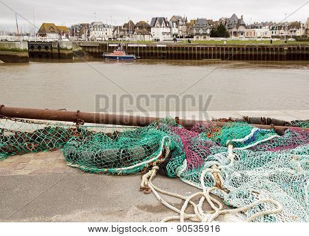 Fishing Net, Trouville (Normandy France). The port of Trouville in Normandy (France)