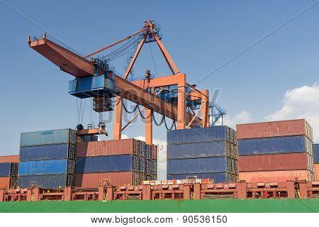 Loading Cargo On A Ship