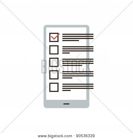 Checklist In Phone Flat Line Icon Concept