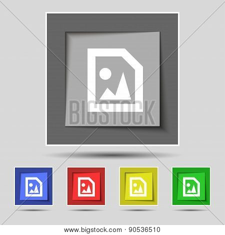 File Jpg Icon Sign On The Original Five Colored Buttons. Vector