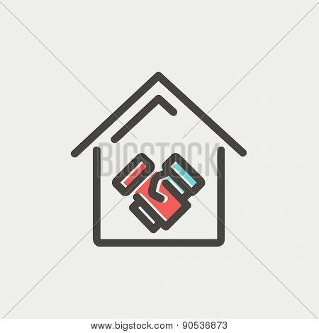 Successful real estate transaction icon thin line for web and mobile, modern minimalistic flat design. Vector icon with dark grey outline and offset colour on light grey background.