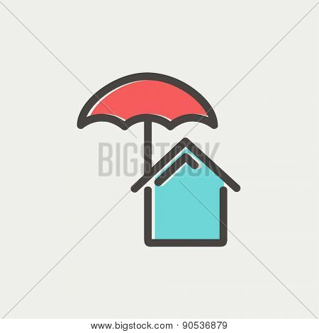 House insurance icon thin line for web and mobile, modern minimalistic flat design. Vector icon with dark grey outline and offset colour on light grey background.